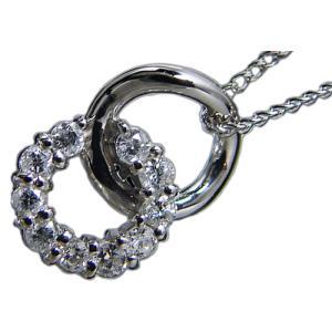 プラチナ(Pt900/Pt850)天然ダイヤモンド0.19ctダブルサークル(輪)ペンダントネックレス|alliegold