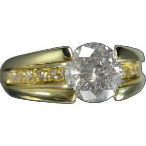 リング 指輪 18金 イエロー ゴールド K18 YG 一粒 天然 ダイヤモンド ダイヤ 1.5カラット 1.5ct 両腕 ダイヤライン 立体 的 幅広 ワイド メンズ レディース|alliegold