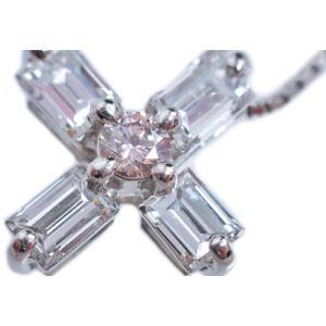 ペンダント ネックレス プラチナ Pt900 Pt850 バゲット カット ダイヤモンド ダイヤ 0.8カラット 0.8ct ピンク ダイヤ 十字架 クロス cross レディース 送料無料|alliegold