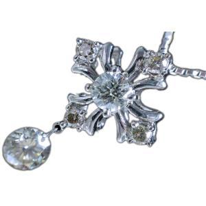 18金ホワイトゴールド(K18WG)レーザーホールダイヤモンド&ダイヤモンド十字架クロスペンダントネックレス|alliegold
