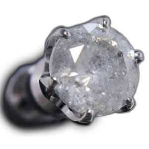 ピアス pierced シングル 片 耳 方 プラチナ Pt900 一粒 ダイヤモンド ダイヤ dia 0.9 1 カラット 0.90 0.95 1.0 ct 手作り 6 本 点 爪  レディース メンズ|alliegold