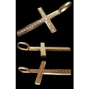 18金イエローゴールド K18 天然ダイヤモンド合計0.950ct シンプルな十字架クロス 30×45mm ペンダントトップ|alliegold|02