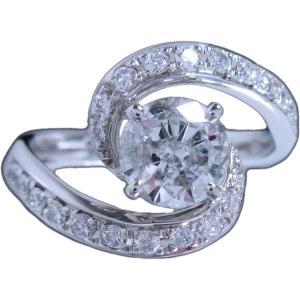 リング 指輪 プラチナ Pt900 天然 ダイヤモンド ダイヤ 1カラット 1.281ct 繊細 動き 曲線 美 レディース 送料無料 新品|alliegold