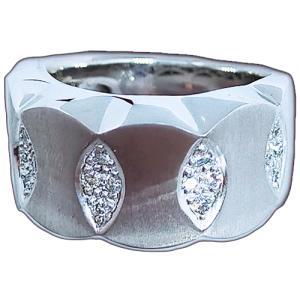 リング 指輪 18金 ホワイト ゴールド K18 WG 上質天然 ダイヤモンド ダイヤ 1カラット 1.0ct マット 艶消し 地金 ミラー 鏡面 ツートン メンズ レディース|alliegold