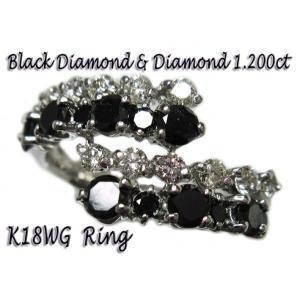 リング 指輪 18金 ホワイト ゴールド K18 WG ブラック ダイヤ モンド ダイヤモンド 計1.2ct 二列 交互 優しく 包みこむ メンズ レディース 送料無料 新品|alliegold