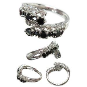 リング 指輪 18金 ホワイト ゴールド K18 WG ブラック ダイヤ モンド ダイヤモンド 計1.2ct 二列 交互 優しく 包みこむ メンズ レディース 送料無料 新品 alliegold 04