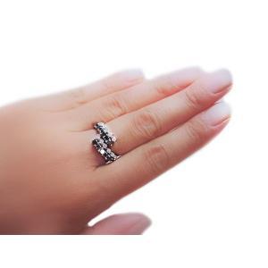 リング 指輪 18金 ホワイト ゴールド K18 WG ブラック ダイヤ モンド ダイヤモンド 計1.2ct 二列 交互 優しく 包みこむ メンズ レディース 送料無料 新品 alliegold 05