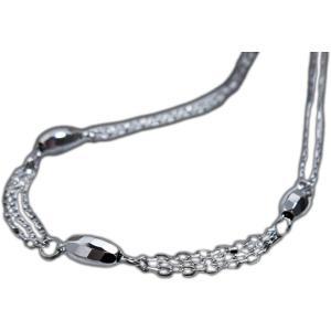 ブレスレット アンクレット 18金 ホワイト ゴールド K18 WG bracelet anklet日本製 地金 オーバル ミラー ボール ダブル チェーン 18cm レディース 誕生日 記念|alliegold
