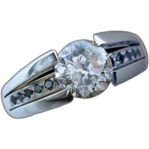 リング 指輪 中石 一粒 ダイヤモンド 1カラット 1.754ct 両腕 ブラック ダイヤ ライン 立体的 幅広 ワイド リング プラチナ Pt900|alliegold