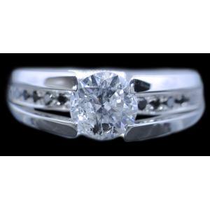 リング 指輪 中石 一粒 ダイヤモンド 1カラット 1.754ct 両腕 ブラック ダイヤ ライン 立体的 幅広 ワイド リング プラチナ Pt900 alliegold 02