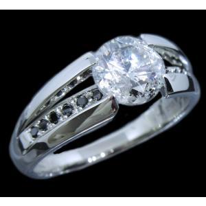 リング 指輪 中石 一粒 ダイヤモンド 1カラット 1.754ct 両腕 ブラック ダイヤ ライン 立体的 幅広 ワイド リング プラチナ Pt900 alliegold 03