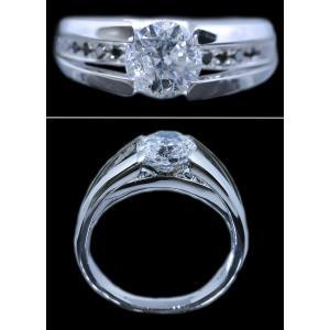 リング 指輪 中石 一粒 ダイヤモンド 1カラット 1.754ct 両腕 ブラック ダイヤ ライン 立体的 幅広 ワイド リング プラチナ Pt900 alliegold 05