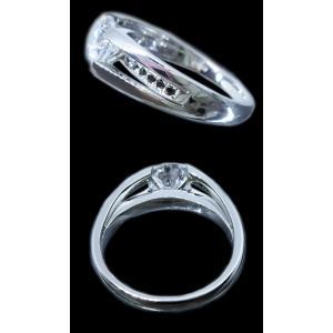 リング 指輪 中石 一粒 ダイヤモンド 1カラット 1.754ct 両腕 ブラック ダイヤ ライン 立体的 幅広 ワイド リング プラチナ Pt900 alliegold 06
