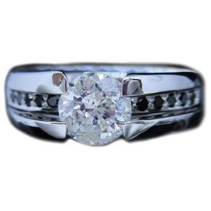 リング 指輪 中石 一粒 ダイヤモンド 1カラット 1.319ct 両腕 ブラック ダイヤ ライン 立体的 幅広 ワイド リング プラチナ Pt900|alliegold