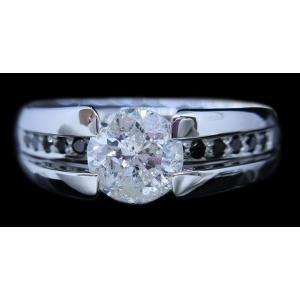 リング 指輪 中石 一粒 ダイヤモンド 1カラット 1.319ct 両腕 ブラック ダイヤ ライン 立体的 幅広 ワイド リング プラチナ Pt900|alliegold|02