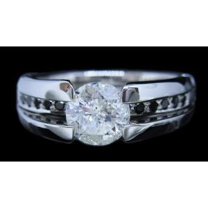 リング 指輪 中石 一粒 ダイヤモンド 1カラット 1.319ct 両腕 ブラック ダイヤ ライン 立体的 幅広 ワイド リング プラチナ Pt900|alliegold|03