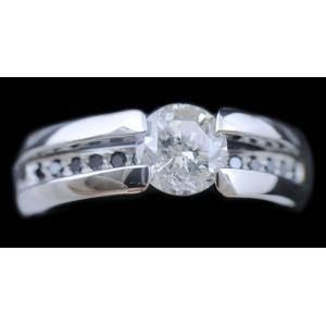 リング 指輪 中石 一粒 ダイヤモンド 1カラット 1.319ct 両腕 ブラック ダイヤ ライン 立体的 幅広 ワイド リング プラチナ Pt900|alliegold|04