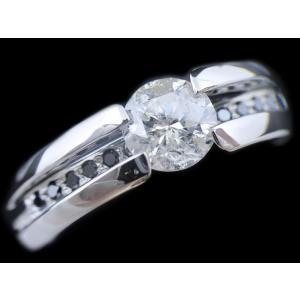 リング 指輪 中石 一粒 ダイヤモンド 1カラット 1.319ct 両腕 ブラック ダイヤ ライン 立体的 幅広 ワイド リング プラチナ Pt900|alliegold|05