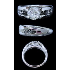 リング 指輪 中石 一粒 ダイヤモンド 1カラット 1.319ct 両腕 ブラック ダイヤ ライン 立体的 幅広 ワイド リング プラチナ Pt900|alliegold|06
