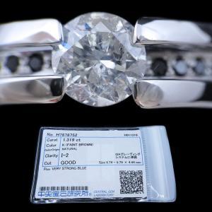 リング 指輪 中石 一粒 ダイヤモンド 1カラット 1.319ct 両腕 ブラック ダイヤ ライン 立体的 幅広 ワイド リング プラチナ Pt900|alliegold|07