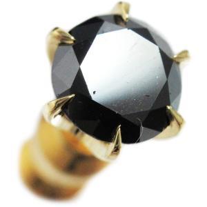 ピアス シングル 片 耳 方 18金 イエロー ゴールド K18 ラウンド 一粒 ブラック ダイヤモンド ダイヤ dia 1 カラット 1.0 ct 6 本 点 爪 レディース メンズ|alliegold|02