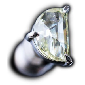 ピアス シングル 片 耳 方 プラチナ Pt900 一粒 ファンシー カット ダイヤモンド ダイヤ dia 0.4 カラット 0.40 ct ハーフ ムーン 月 ドーム D レディース|alliegold