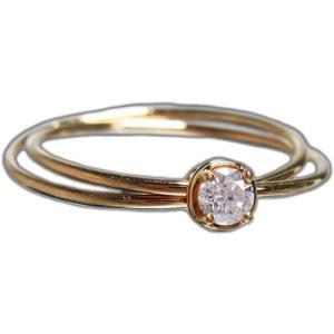 リング 指輪 18金 イエロー ゴールド K18 YG ダイヤモンド ダイヤ 一粒 伏せ込み レール 留め ラウンド 二連 ツーライン レディース 送料無料 新品|alliegold