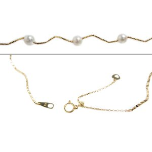 ステーション ネックレス アコヤ あこや 本 真珠 パール pearl 18金 イエロー ゴールド K18 YG ミラーカット 形状記憶 ウェーブ チェーン オメガ レディース|alliegold|04