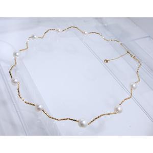 ステーション ネックレス アコヤ あこや 本 真珠 パール pearl 18金 イエロー ゴールド K18 YG ミラーカット 形状記憶 ウェーブ チェーン オメガ レディース|alliegold|05
