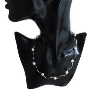 ステーション ネックレス アコヤ あこや 本 真珠 パール pearl 18金 イエロー ゴールド K18 YG ミラーカット 形状記憶 ウェーブ チェーン オメガ レディース|alliegold|06