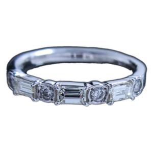 リング 指輪 ハーフ エタニティ っぽい 上質 スクエア カット & ラウンド カット ダイヤモンド ダイヤ 0.490ct プラチナ Pt900|alliegold