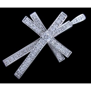 ペンダント トップ ヘッド 18金 ホワイト ゴールド K18 WG ダイヤモンド ダイヤ 1カラット 1.0ct スウィング 動く 十字架 クロス cross 兼 ブローチ レディース|alliegold|04