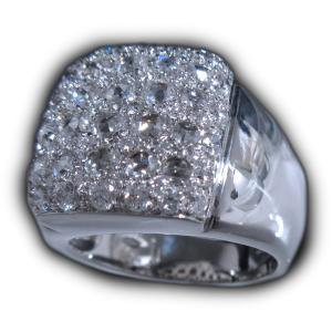 男 手作り メンズ リング 指輪 18金 ホワイトゴールド K18 WG ローズ カット & ラウンドブリリアント ダイヤモンド ダイヤ dia 1カラット 1.4 ct 角 型 印台|alliegold