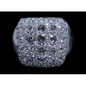 男 手作り メンズ リング 指輪 18金 ホワイトゴールド K18 WG ローズ カット & ラウンドブリリアント ダイヤモンド ダイヤ dia 1カラット 1.4 ct 角 型 印台|alliegold|03