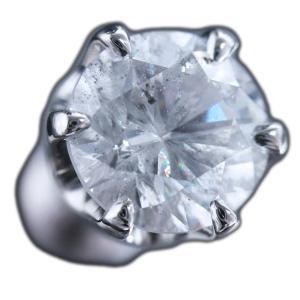 ピアス pierced シングル 片 耳 方 プラチナ Pt900 一粒 ダイヤモンド ダイヤ dia 1 カラット 1.0 1.2 ct G I3 Fair 手作り 6 本 点 爪 レディース メンズ|alliegold
