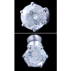 ピアス pierced シングル 片 耳 方 プラチナ Pt900 一粒 ダイヤモンド ダイヤ dia 1 カラット 1.0 ct ソーティング 鑑定 手作り 6 本 点 爪 レディース メンズ|alliegold|03