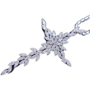 ペンダント ネックレス 18金 ホワイト ゴールド K18 WG ダイヤモンド ダイヤ 3カラット 3.0ct 雪の結晶 十字架 クロス cross レディース メンズ 送料無料 新品|alliegold