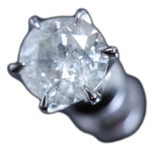 ピアス シングル 片 耳 方 プラチナ Pt900 一粒 ダイヤモンド ダイヤ dia 0.7 カラット 0.70 ct ソーティング 鑑定 手作り 6 本 点 爪 レディース メンズ|alliegold