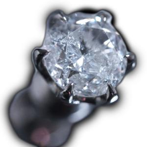 ソーティング(鑑定)付き一粒ダイヤモンド0.841ct★プラチナ(Pt900)丸っこい6本爪メンズシングルピアス(片耳用ピアス)|alliegold