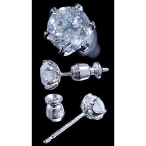 ピアス シングル 片 耳 方 プラチナ Pt900 一粒 ダイヤモンド ダイヤ dia 0.8 カラット 0.80 ct ソーティング 鑑定 手作り 6 本 点 爪 レディース メンズ|alliegold|02
