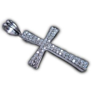 ペンダント トップ ヘッド 18金 ホワイト ゴールド K18 WG ダイヤモンド ダイヤ 1カラット 1.2ct シンプル 十字架 クロス レディース 新品|alliegold