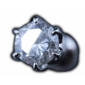 大粒!天然ダイヤモンド0.5カラット(0.585ct H/I1/FAIR鑑定機関NGL発行ソーティング付)★プラチナPt900丸っこい6本爪シングルピアス(片耳用ピアス)|alliegold