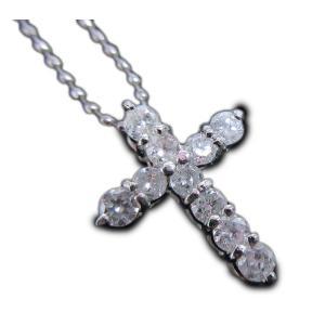 プラチナ(Pt900/Pt850)天然ダイヤモンド合計0.500ct★10石ダイヤが奏でる十字架クロスペンダントネックレス|alliegold