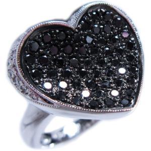 リング 指輪 ブラック ダイヤモンド 0.6ct & ダイヤ モンド 0.2ct 合計0.9ct ふっくら 反り 面 立体 的 ハート 18金 ホワイトゴールド K18WG 11号 レディース|alliegold