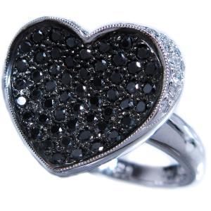 リング 指輪 ブラック ダイヤモンド 0.6ct & ダイヤ モンド 0.2ct 合計0.9ct ふっくら 反り 面 立体 的 ハート 18金 ホワイトゴールド K18WG 11号 レディース|alliegold|02