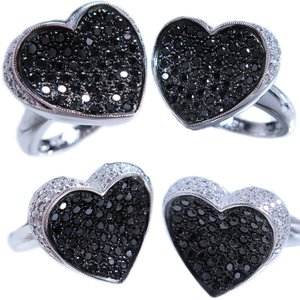 リング 指輪 ブラック ダイヤモンド 0.6ct & ダイヤ モンド 0.2ct 合計0.9ct ふっくら 反り 面 立体 的 ハート 18金 ホワイトゴールド K18WG 11号 レディース|alliegold|03