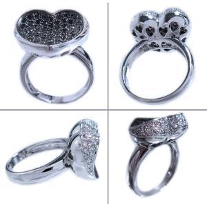 リング 指輪 ブラック ダイヤモンド 0.6ct & ダイヤ モンド 0.2ct 合計0.9ct ふっくら 反り 面 立体 的 ハート 18金 ホワイトゴールド K18WG 11号 レディース|alliegold|04