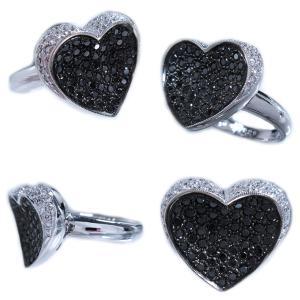 リング 指輪 ブラック ダイヤモンド 0.6ct & ダイヤ モンド 0.2ct 合計0.9ct ふっくら 反り 面 立体 的 ハート 18金 ホワイトゴールド K18WG 11号 レディース|alliegold|05