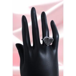 リング 指輪 ブラック ダイヤモンド 0.6ct & ダイヤ モンド 0.2ct 合計0.9ct ふっくら 反り 面 立体 的 ハート 18金 ホワイトゴールド K18WG 11号 レディース|alliegold|06