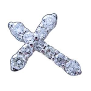 ペンダント トップ ヘッド プラチナ Pt900 ダイヤモンド ダイヤ 1カラット 1.0ct SI2 I1 位 シンプル 十字架 クロス 定番人気 10石 レディース 新品|alliegold